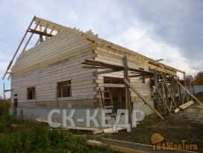 Дом из строганного 200 бруса 12*17 м.Строительный процесс...