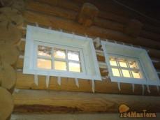 Установка окон ПВХ в дом из оцилиндрованного бревна.Резка проёмов под окна.