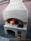 Уличный комплекс для готовки с мангалом и печью под казан,...