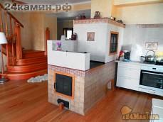 Отопительная печь с плитой для готовки и духовым шкафом
