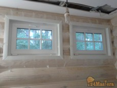 Установка окон ПВХ в дом из оцилиндрованного бревна.Резка проёмов под окна.)