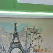 Поклейка декоративного пано. Установка потолка из гипсо ка...