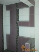Кафель, стены из ГКВЛ, гидроизоляция на стенах и полу.