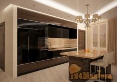 Гостиная, совмещенная с кухней в 4-х комнатной квартире.С...