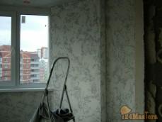 """Отделка балкона декоративной штукатуркой """"Камень травертин"""""""