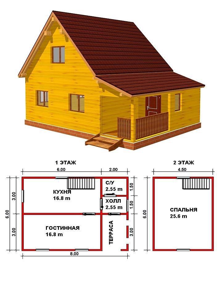Чертежи дома из бревна