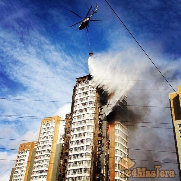 Пожар на Шахтёров 25 этажного дома Красноярск