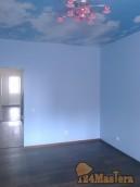 Окраска стен, укладка паркетной доски, натяжной потолок.