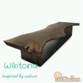 Обеденный стол.  Тонированный дуб + металл.  Отделка : масло + воск