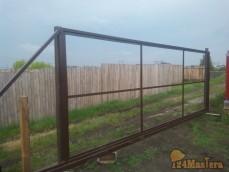 Установка каркаса откатных ворот в п.Солонцы